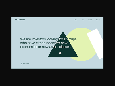 Coventure website art direction corporate website venture capital scroll animation animation minimal bold shapes ux desgin ui design website ui