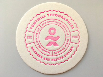Letterpressed Mat mat badge letterpress