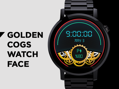 Golden Cogs Watch Face wear tech illustration vector icon battery ui clock face watch cogs golden