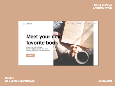 Daily UI #003 redesign goodreads daily ui 001 landing page daily ui 003 daily 100 challenge daily ui