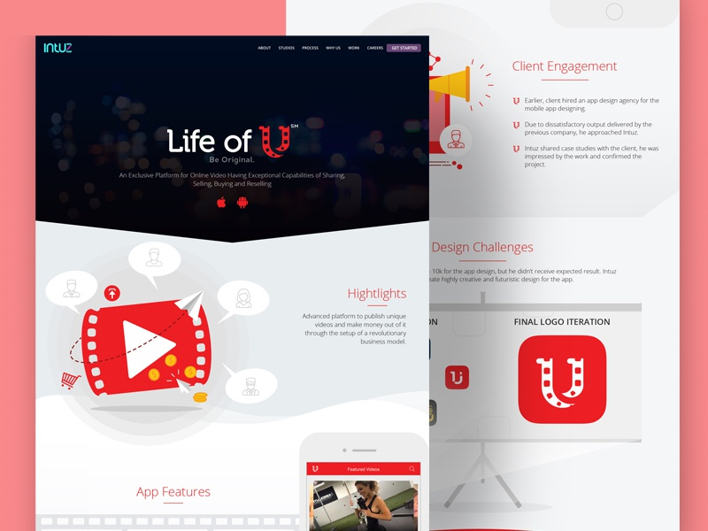 App Case Study - Video Sharing Marketplace by Intuz on Dribbble