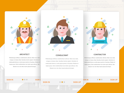 App Onboarding Signup Signin - Construction App contractor architect construction android iphone ui illustrations icons app onboarding app development
