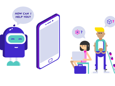 Chatbot communicate with student illustration