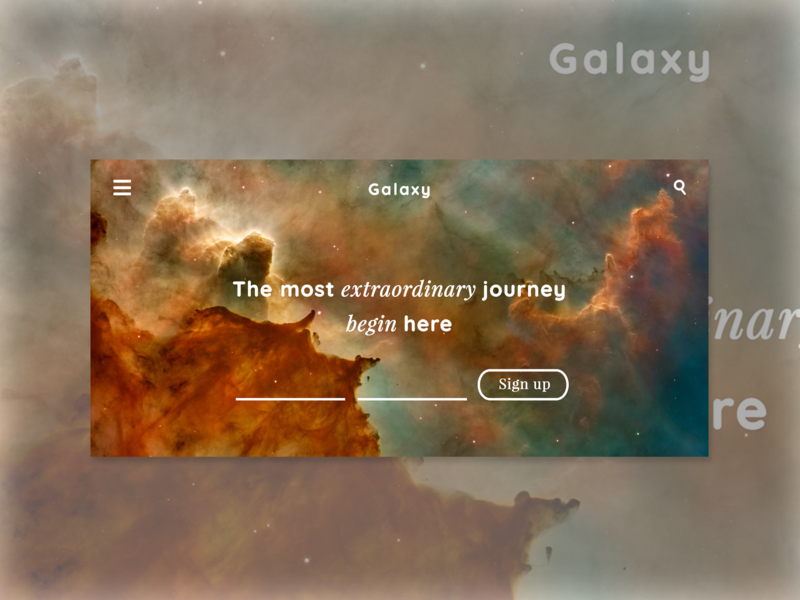 Galaxy Webpage landing page galaxy user interface website userinterface design ui