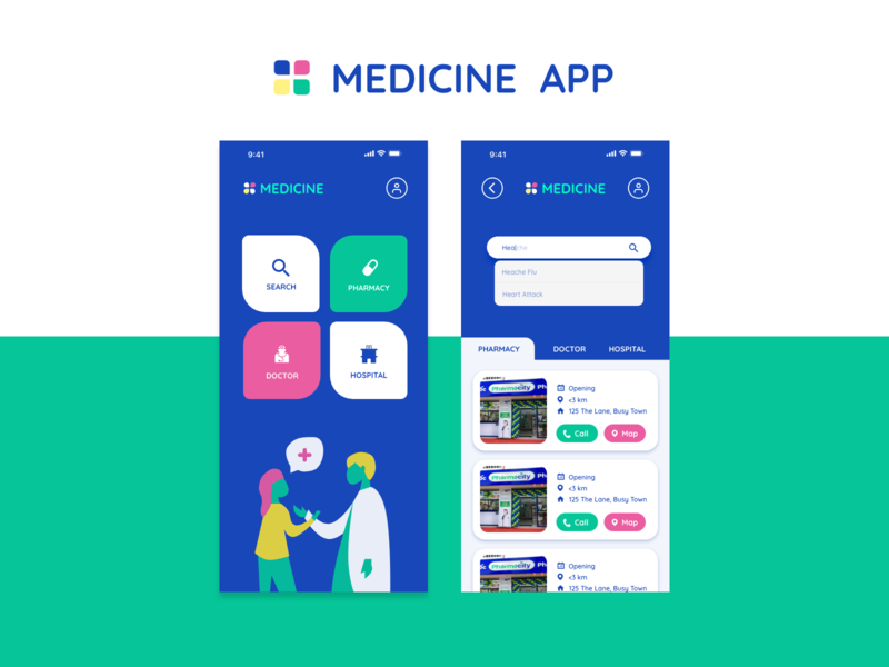 Medicine App vector application hospital doctor medicine user interface userinterface design illustration app ui