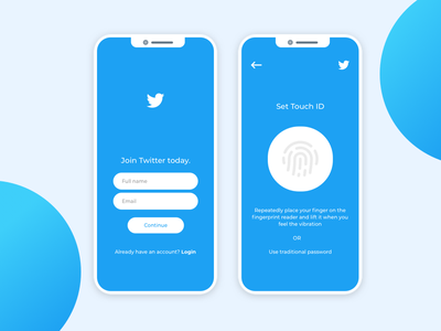 Twitter Signup with Touch ID - Experimental ia uxflow redesign concept uiux design experimental twitter app signup