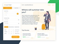 Flight Booking App Concept Homepage  -  Experiment