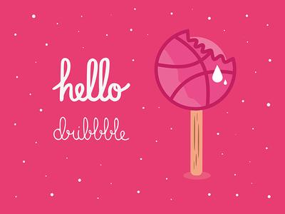 Hello dribbble! handlettering illustration ice cream pink dribbble