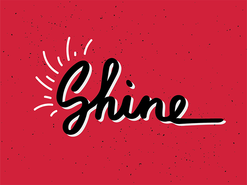 Shine type lettering shine typography red hand lettering