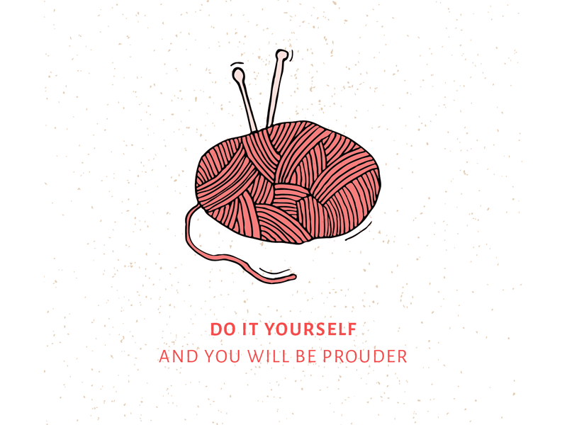 Do It Yourself hobby knitting pink illustration do it yourself