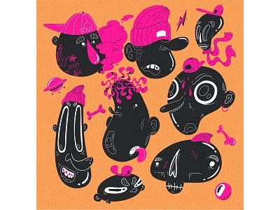 dope dudes vol 1 dudes skull ufo cap beanie faces illustration characterdesign character nike adidas skaters skater dude