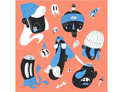 dope dudes vol 2 character art illustration funny beanie bones lips spaceship ufo knife ghost skull cap hiphop skaters skater dope dudes characterdesign character