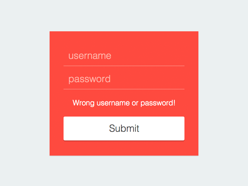 Clean login. Wrong user or password. ui wrong user name minimalist
