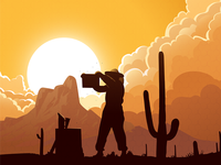 Arizona Beekeeper picacho sunset beekeeping illustration