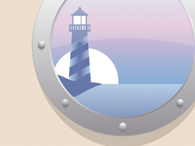 Expanding Horizons sunset illustration nautical light house porthole