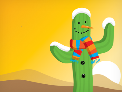 Winter Cactus illustration cactus winter sunset desert