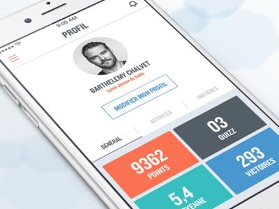 Quizz Profile page profil application quizz flat design ui ux colors white square