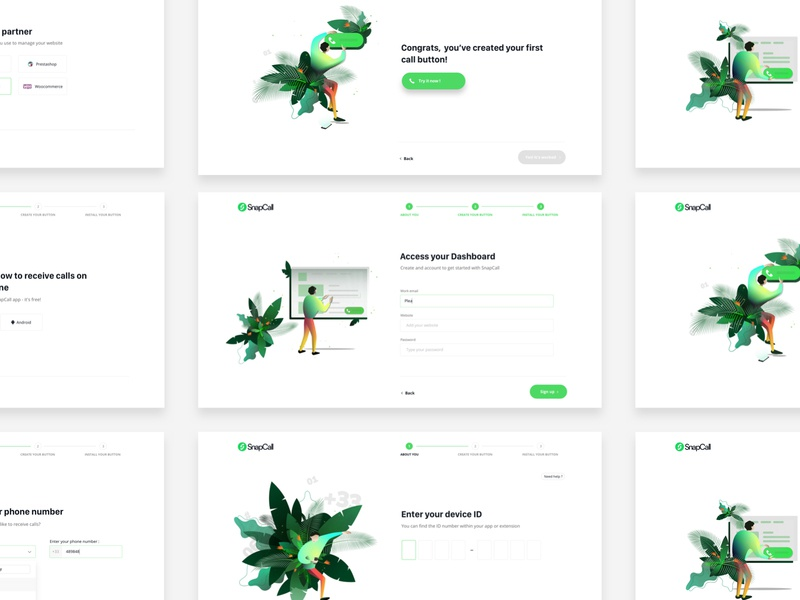 Funnel - SnapCall design agency illustration signin signupform flow agenceme ux ui
