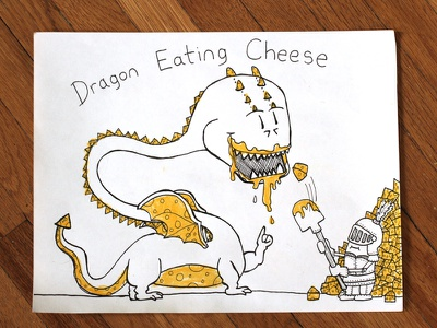 01: Draw me a [Dragon Eating Cheese] cheese knight dragon speed drawing video illustration