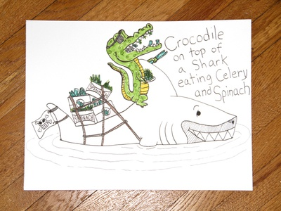 04: Draw me a [Crocodile On Top Of A Shark] drawing speed video design illustration alligator ocean celery spinach pirate shark crocodile