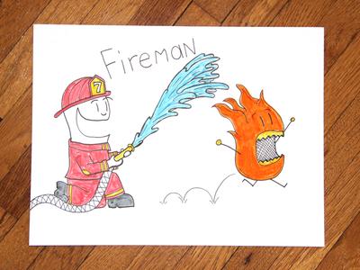 05: Draw me a [Fireman] illustration adorable cute drawing speed video firefighter water man fire fireman