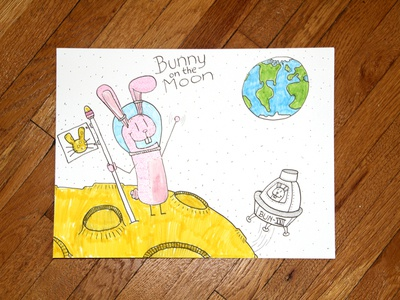 06: Draw me a [Bunny On The Moon] cheese flag earth spaceship youtube video drawing illustration space moon bunny