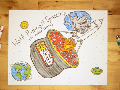 08: Draw me a [Wolf Riding A Spaceship To Outer Space] speed drawing video illustration moon earth meat steak rocket space outer space spaceship wolf
