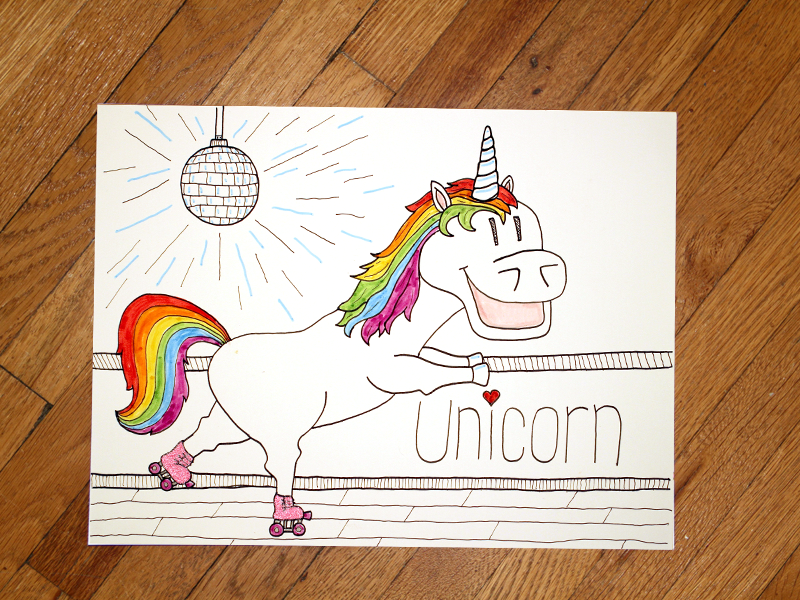 09: Draw me a [Unicorn II] disco rainbow speed drawing derby skating roller drawing draw how to unicorn