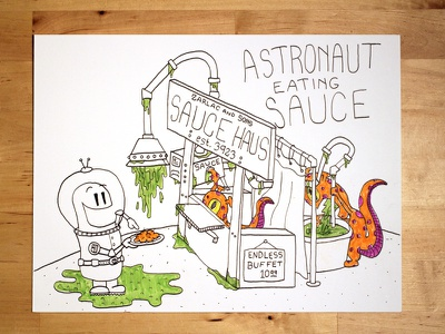 10 Astronaut Eating Sauce Social adorable youtube how to speed illustration gross restaurant puke vomit alien sauce astronaut