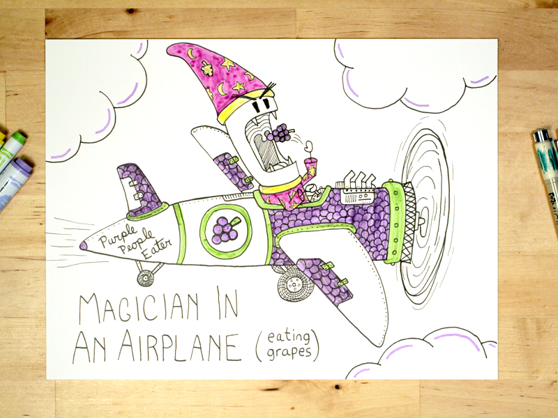 11: Draw me a [Magician In An Airplane Eating Grapes] speed drawing video youtube drawing adorable evil fly plane jelly grapes wizard magician