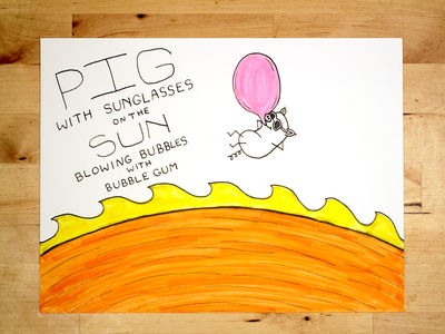 13: Draw me a [Pig On The Sun Blowing Bubbles With Bubble Gum] youtube illustration pork hot gum bubble sun bacon pig