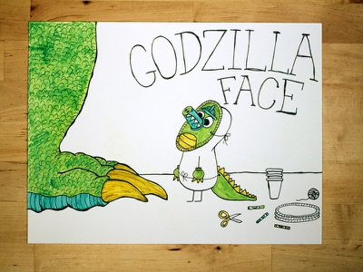 14: Draw me a [Godzilla Face] video youtube adorable illustration monsters drawing speed godzilla