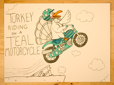 15: Turkey Riding On A Teal Motorcycle time lapse design illustration thanksgiving stuntman stunt youtube motorcycle turkey evel knievel