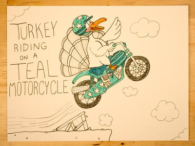 15: Turkey Riding On A Teal Motorcycle time lapse design illustration thanksgiving stuntman stunt youtube motorcycle turkey evel knievel