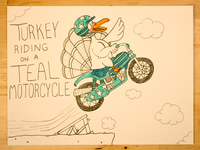 15: Turkey Riding On A Teal Motorcycle