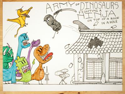 21: Army Of Dinosaurs Fighting A Ninja extince martial arts hole fight army ninja dinosaur