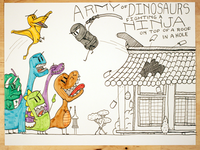 21: Army Of Dinosaurs Fighting A Ninja