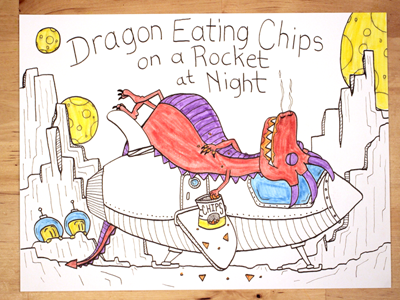 16: Dragon Eating Chips On A Rocket At Night moon rocket space astronaut chips dragon