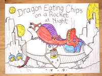 16: Dragon Eating Chips On A Rocket At Night