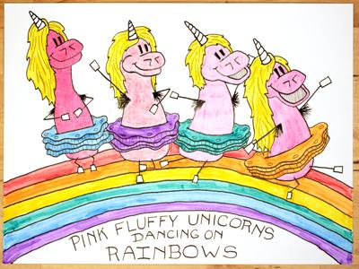 17: Pink Fluffy Unicorns Dancing On Rainbows by Jesse