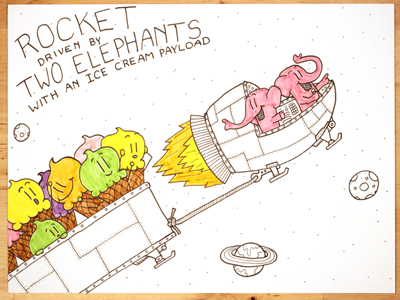 23: Rocket Driven By Two Elephants With An Ice Cream Payload nasa space ice cream elephants rocket