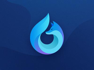 Custom Waterfox web browser logo (unofficial) identity graphic design vector branding blue waterfox logo fox