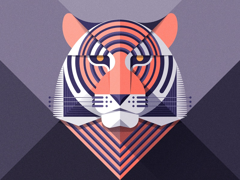 Radial Tiger wallpaper geometric flat colorful illustration vector tiger