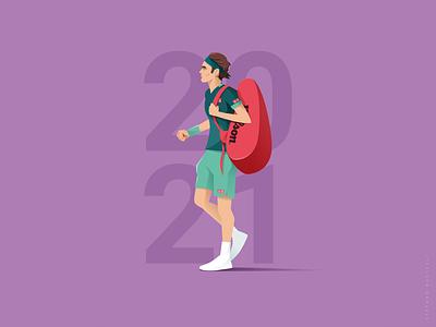 Welcome Back! sport tennis player colorful digital art illustration vector