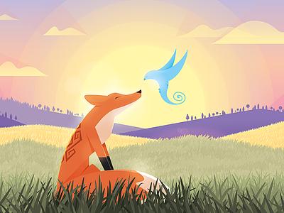 The Encounter animals characters bird fox vector digital illustration