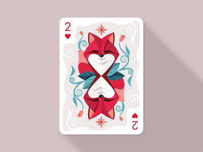 Two of Hearts luck of the draw collaboration digital art flat style vector fox two of hearts illustration playing cards