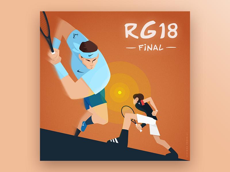 Final Fight | RG 2018 dominic thiem rafael nadal roland garros tennis sport characters digital vector illustration