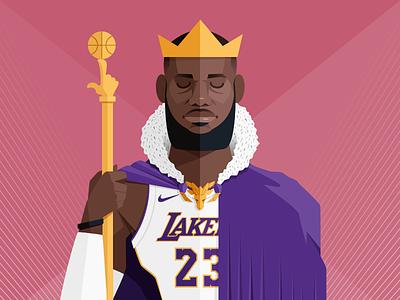 King James vector sport player nba illustration los angeles lakers flat style art digital lebron king james basket