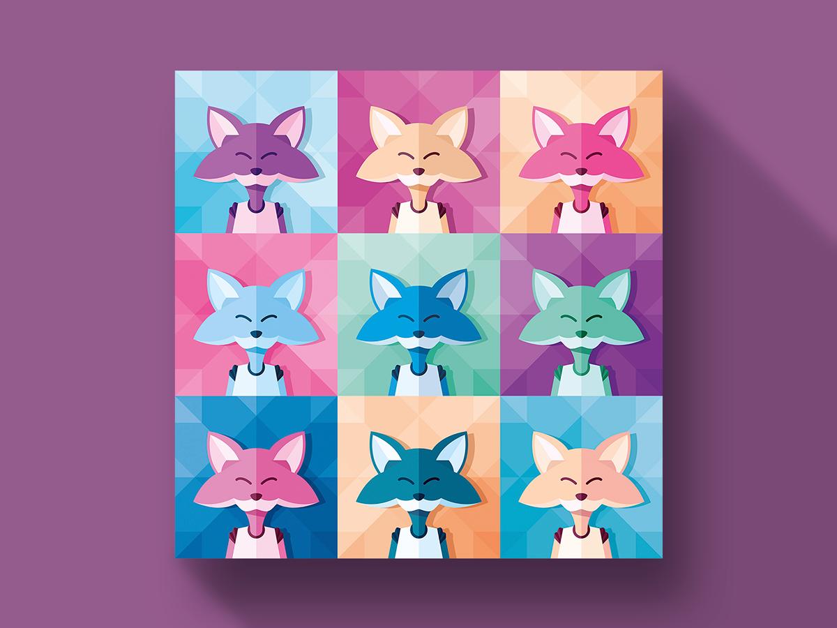 Pop art portrait n°07 | Digital Stars hero fox flatillustration colorful portrait popart character digital vector illustrator illustration retro gaming