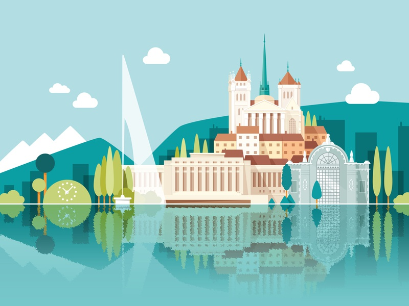 Welcome to Geneva naive colorful monuments city landscape flat vector illustration